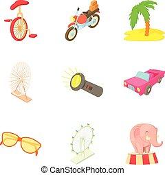 Locale icons set, cartoon style - Locale icons set. Cartoon...