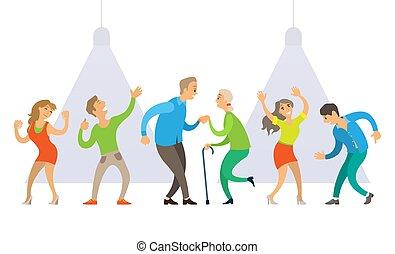 locale notturno, ballare disco, persone, vecchio, giovane