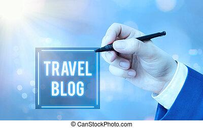 locali, foto, mano, blog., intorno, affari, world., viaggiare, esposizione, condivisione, scrittura, esperienze, concettuale, pensieri, testo