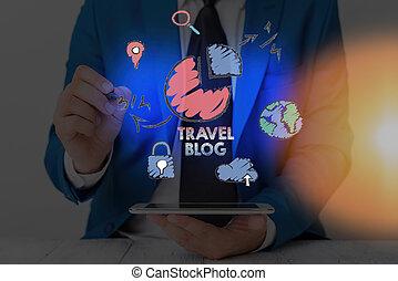locali, foto, mano, blog., intorno, affari, world., viaggiare, esposizione, condivisione, scrittura, showcasing, esperienze, concettuale, pensieri