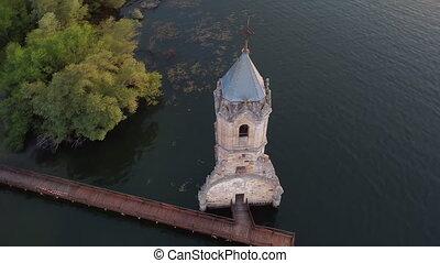 localisé, église, cantabria, réservoir, vue aérienne, ebro, sunken, fish, nord, spain., cathedral., ruines