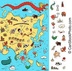 localiser, carte, asia:, grand, map., isolé, visuel, game., articles