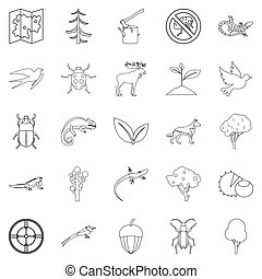 Locality icons set, outline style - Locality icons set....