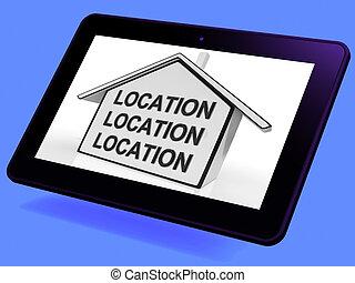 localização, localização, localização, casa, tabuleta, mostra, escorvar, bens imóveis