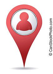 localização, pessoas, ícone
