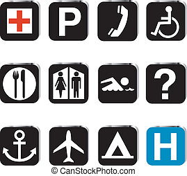 localizações, jogo, turista, ícone
