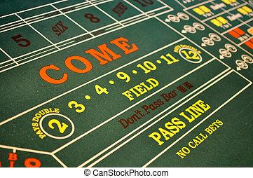 localizado, casino, craps la tabla