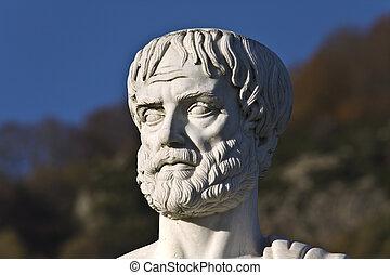 localizado, stageira, estatua, aristotle, grecia