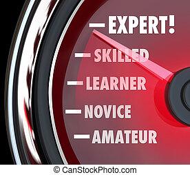 localizando, amador, perito, nível, principiante, ou, ir,...