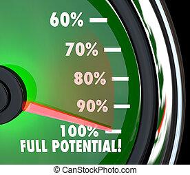 localizando, meta, cheio, alcançar, potenciais, velocímetro