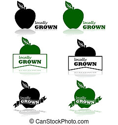 Locally grown - Concept illustration showing an apple and...