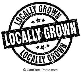 locally grown round grunge black stamp