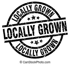 locally grown round grunge black stamp
