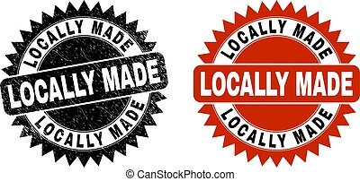 LOCALLY MADE Black Rosette Stamp Seal with Distress Texture