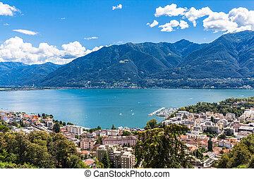 Panorama view of Locarno city and Maggiore lake on the mountain, Ticino, Switzerland