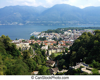 Locarno City Top View, Lago Maggiore and mountains landscape on a summer day, Ticino, Switzerland