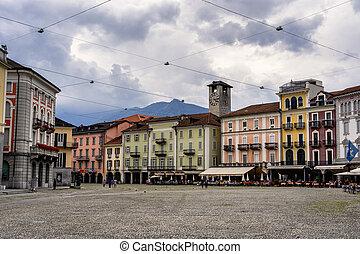 Locarno, Ticino, Switzerland: the main square of the city known as Piazza Grande