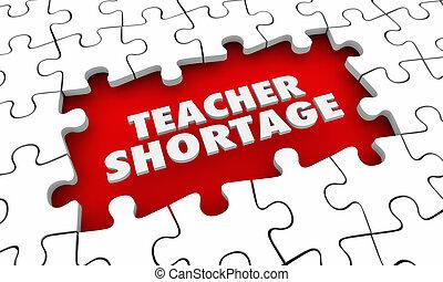 location, éducateurs, puzzle, illustration, morceaux, mots, pénurie, plus, prof, 3d