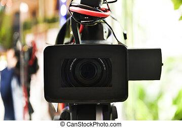 location., 専門家, カメラ, ビデオ, len, フォーカス