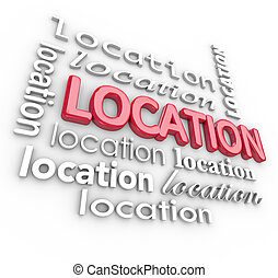 Location 3d Word Backgound Good Desirable Area Place