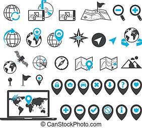 Map, location and destination markers and icons