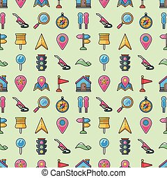 Location and navigation icons set, eps10