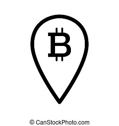 Location bitcoin line icon. vector illustration isolated on white. outline style design, designed for web. Eps 10