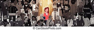 location, concept, ressource, candidat, foule, gens, femme affaires, individu, éditorial, business, recrutement, stand, humain, équipe, groupe, projecteur, dehors