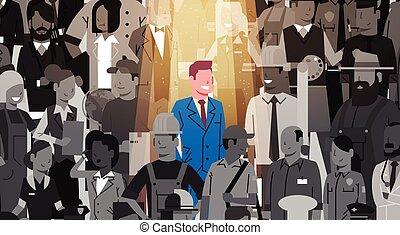 location, concept, ressource, candidat, foule, gens, individu, éditorial, business, recrutement, stand, humain, équipe, homme affaires, projecteur, groupe, dehors