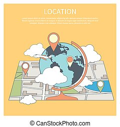 Location concept. World map infographic