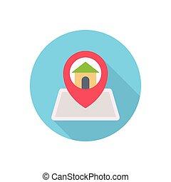 location  flat color icon