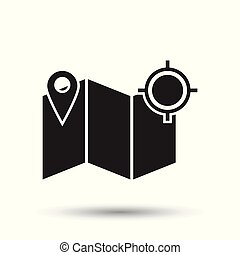 Location gps icon. Flat vector illustration. Location sign symbol with shadow on white background.