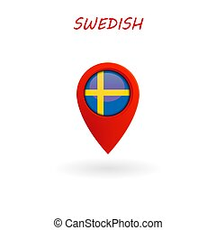 Location Icon for Swedish Flag, Vector