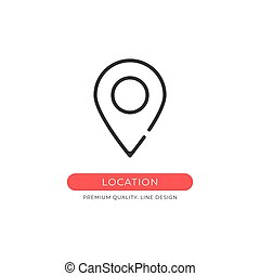 Location icon. Map pin, marker, pointer, navigation concepts. Premium quality graphic design element. Modern sign, linear pictogram, outline symbol, simple vector thin line icon