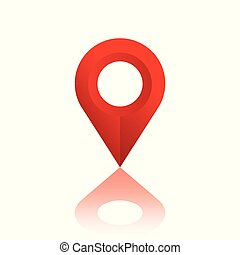 Location icon, red sign with shadow. Vector illustration on a white background.