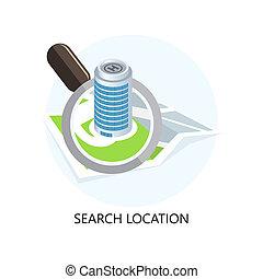 Location Icon. Search Concept. Flat Design.