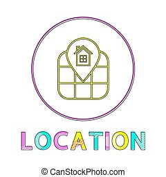 Location Identification Service Linear Round Icon - Location...