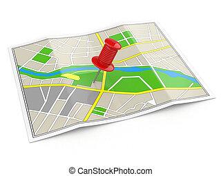 location., kaart, en, thumbtack., navigatiesysteem, concept.