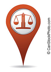 location lawyer balance icon, justice