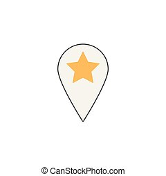 Location line icon, pin sign, map pointer,