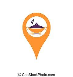 location., livraison, goupille carte, concept., logo, nourriture