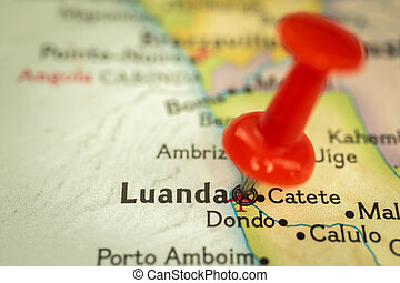 Location Luanda in Angola, map with push pin closeup, travel and journey concept with marker, Africa