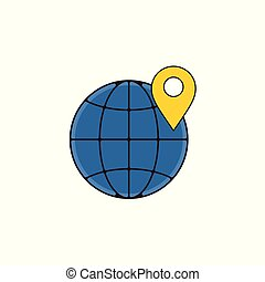 Location Map Globe Vector Outline Icon Illustration