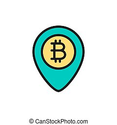 Location mark with bitcoin coin, blockchain flat color icon.