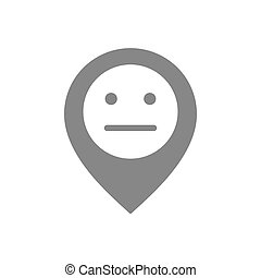 Location mark with neutral face gray icon. Customer unsatisfaction, rating symbol.
