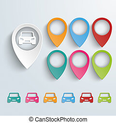 Location Markers Cars Set - Infographic with location...
