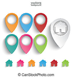Location Markers Houses Set