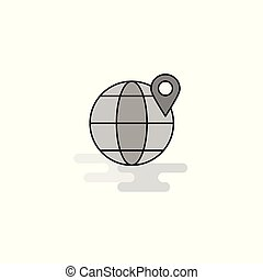 Location on globe Web Icon. Flat Line Filled Gray Icon Vector