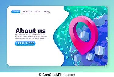Location package navigation, app services logistic, online web site design. Vector