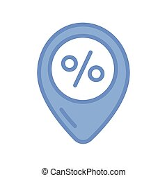 location pin icon, blue outline style